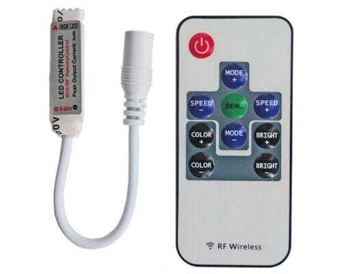 Контроллер RGB 12/24V 72/144W 6A mini с переходником и радиопультом управления 96519